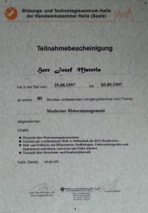 dyplom dla auto serwisu ogrzewania elektromechanika samochodowa