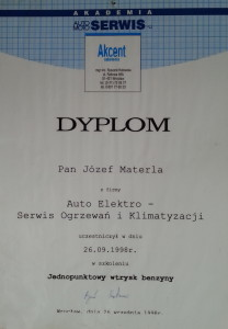 dyplom dla serwisu klimatyzacji samochodowej jednopunktowy wtrysk benzyzny