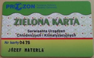 zielona karta serwisanta klimatyzacji samochodowej