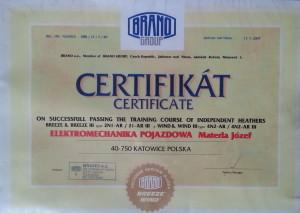 certyfikat brano group dla sewisu klimatyzacji ogrzewania samochodowego