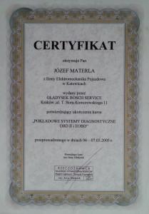 certyfikat dla auto serwisu klimatyzacji samochodowej pokladowe systemy diagnostyczne